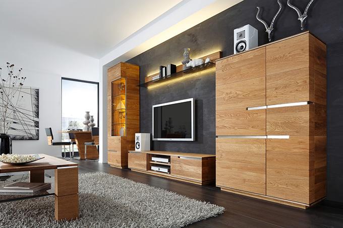 Talaro massive asteiche m bel casa natur design for Moderne wohnwand massivholz